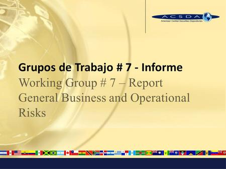 Grupos de Trabajo # 7 - Informe Working Group # 7 – Report General Business and Operational Risks.