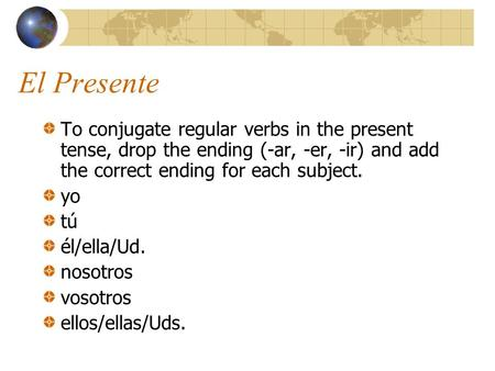 El Presente To conjugate regular verbs in the present tense, drop the ending (-ar, -er, -ir) and add the correct ending for each subject. yo tú él/ella/Ud.