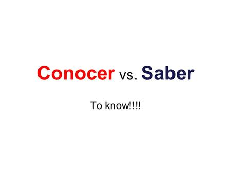 Conocer vs. Saber To know!!!!.