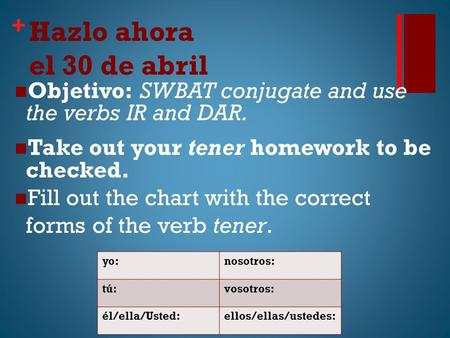 + Hazlo ahora el 30 de abril Objetivo: SWBAT conjugate and use the verbs IR and DAR. Take out your tener homework to be checked. Fill out the chart with.
