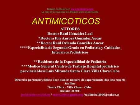 ANTIMICOTICOS AUTORES