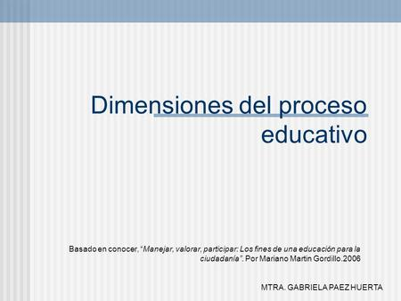 Dimensiones del proceso educativo