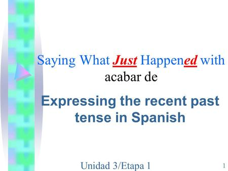 Unidad 3/Etapa 1 1 Saying What Just Happened with acabar de Expressing the recent past tense in Spanish.