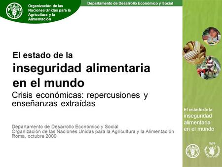 Departamento de Desarrollo Económico y Social The State of Food Insecurity in the World El estado de la inseguridad alimentaria en el mundo Organización.
