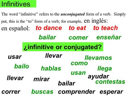 "Infinitives The word ""infinitive"" refers to the unconjugated form of a verb. Simply put, this is the ""to"" form of a verb; for example, en inglés: en español:"