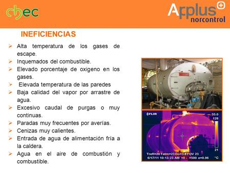 INEFICIENCIAS Alta temperatura de los gases de escape.