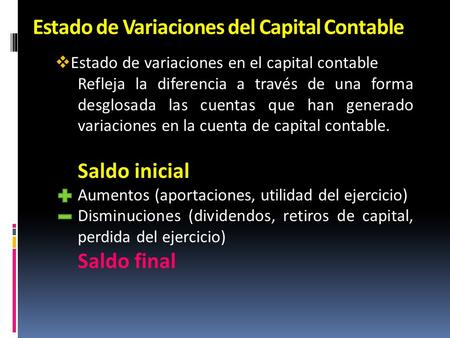 Estado de Variaciones del Capital Contable