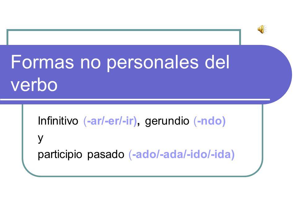 Formas No Personales Del Verbo Ppt Descargar