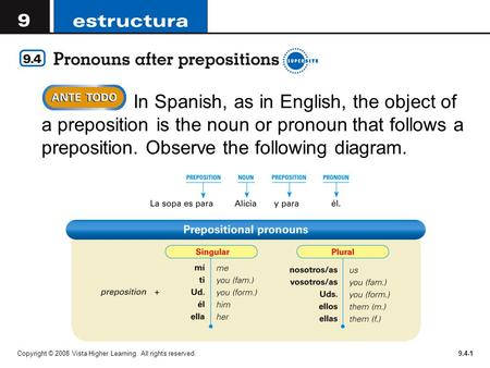 Copyright © 2008 Vista Higher Learning. All rights reserved.9.4-1  In Spanish, as in English, the object of a preposition is the noun or pronoun that.