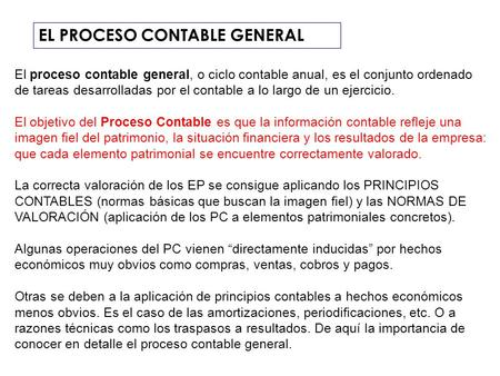 EL PROCESO CONTABLE GENERAL
