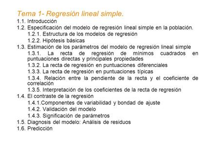 Tema 1- Regresión lineal simple.