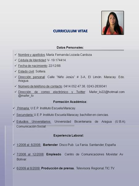 curriculum vitae datos personales estudios realizados
