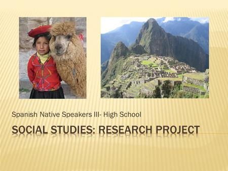 Social studies: Research project