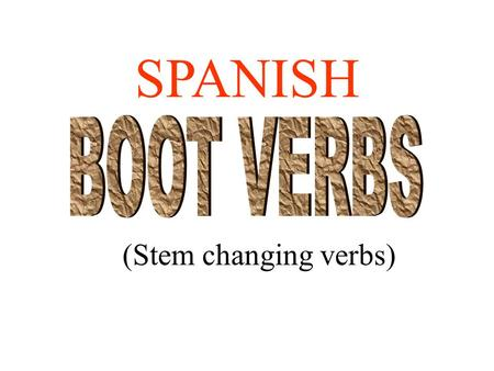 (Stem changing verbs) SPANISH Boot verbs have specific changes.