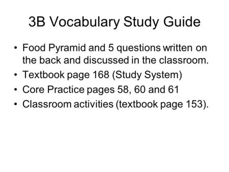 3B Vocabulary Study Guide