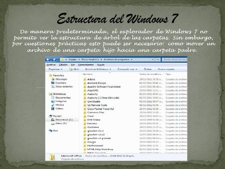 Estructura del Windows 7