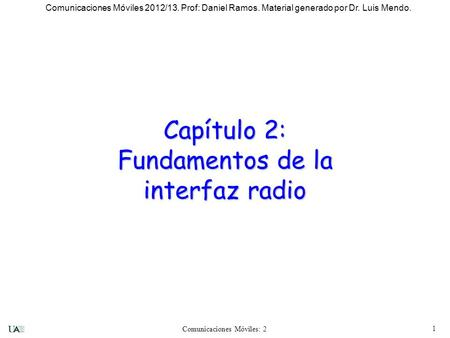 Capítulo 2: Fundamentos de la interfaz radio