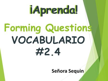VOCABULARIO #2.4 ¡Aprenda! Forming Questions Señora Sequin.