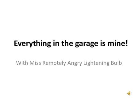 Everything in the garage is mine! With Miss Remotely Angry Lightening Bulb.