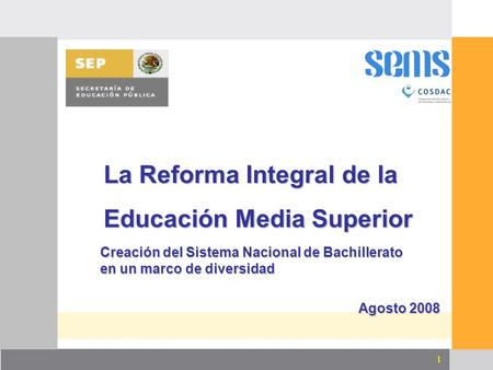 La Reforma Integral de la Educación Media Superior