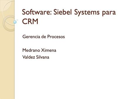 Software: Siebel Systems para CRM