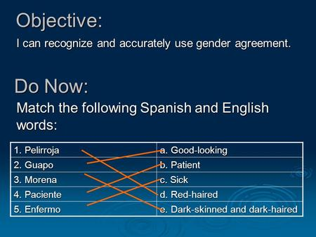 Objective: I can recognize and accurately use gender agreement. Do Now: Match the following Spanish and English words: 1. Pelirroja a. Good-looking 2.