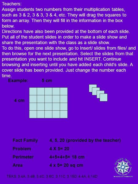 Fact Family4, 5, 20 (provided by the teacher) Problem4 X 5= 20 Perimeter4+5+4+5= 18 cm Area4 x 5= 20 sq cm 5 cm 4 cm Example: Teachers: Assign students.