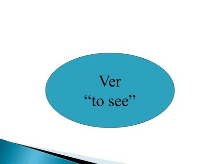 "Ver ""to see"". The verb ver (to see) follows the same pattern as other –er verbs with the exception of the yo form. *VeoVemos Ves VeVen."