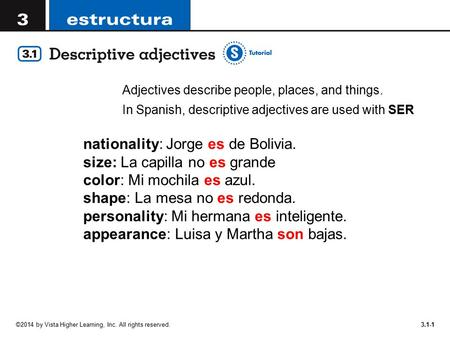 Adjectives describe people, places, and things.