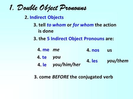 1. Double Object Pronouns 2. Indirect Objects 3. tell to whom or for whom the action is done 3. the 5 Indirect Object Pronouns are: 4. me 4. te 4. le 4.