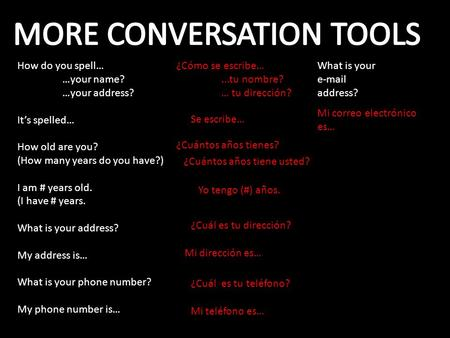 MORE CONVERSATION TOOLS