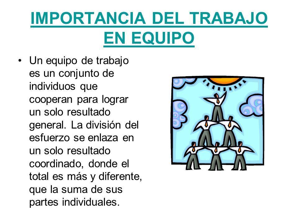 IMPORTANCIA DEL TRABAJO EN EQUIPO Un equipo de trabajo es un conjunto de  individuos que cooperan para lograr un solo resultado general. La división  del. - ppt descargar