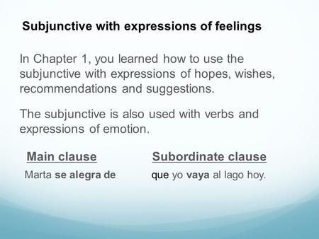 The subjunctive is also used with verbs and expressions of emotion. In Chapter 1, you learned how to use the subjunctive with expressions of hopes, wishes,