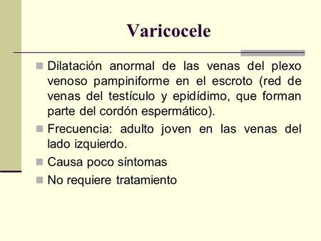 causas y sintomas del varicocele