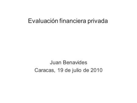 Evaluación financiera privada
