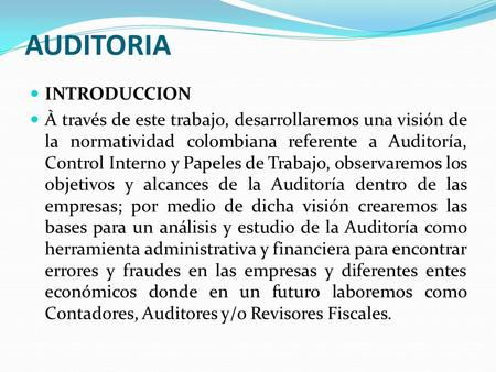 AUDITORIA INTRODUCCION