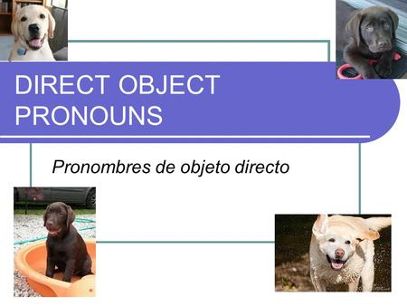 DIRECT OBJECT PRONOUNS Pronombres de objeto directo.