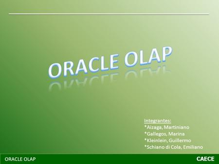 ORACLE OLAP Integrantes: *Aizaga, Martiniano *Gallegos, Marina