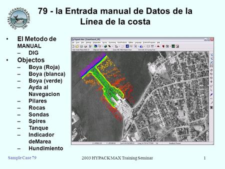 2003 HYPACK MAX Training Seminar1 Sample Case 79 79 - la Entrada manual de Datos de la Línea de la costa El Metodo de MANUAL –DIG Objectos –Boya (Roja)