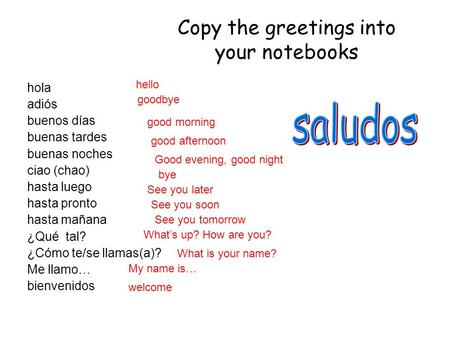 Copy the greetings into your notebooks