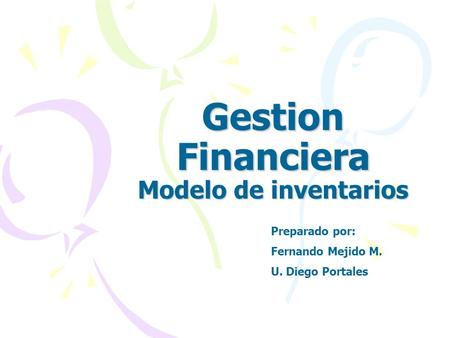 Gestion Financiera Modelo de inventarios