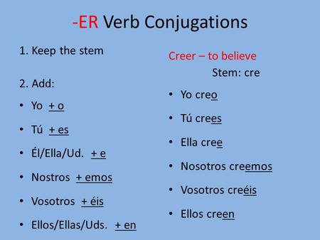 -ER Verb Conjugations 1. Keep the stem 2. Add: Yo + o Tú + es Él/Ella/Ud. + e Nostros + emos Vosotros + éis Ellos/Ellas/Uds. + en Creer – to believe Stem: