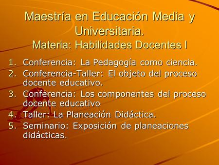 Maestría en Educación Media y Universitaria