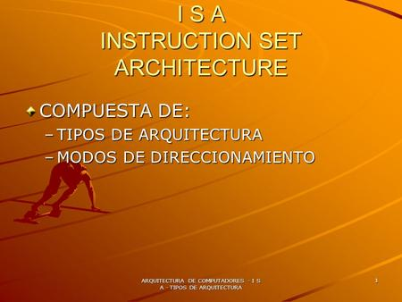 I S A INSTRUCTION SET ARCHITECTURE