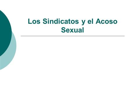 Los Sindicatos y el Acoso Sexual