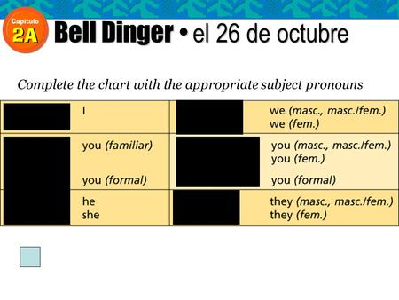 Bell Dinger el 26 de octubre Complete the chart with the appropriate subject pronouns.