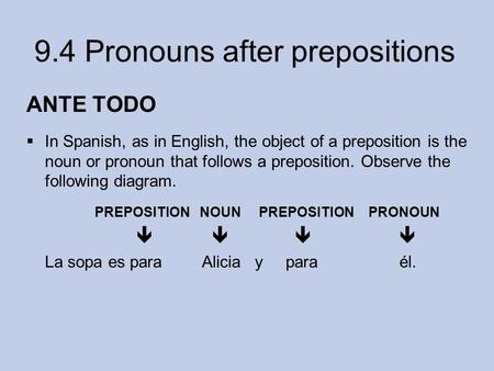ANTE TODO In Spanish, as in English, the object of a preposition is the noun or pronoun that follows a preposition. Observe the following diagram. PREPOSITION.