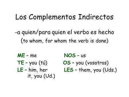 Los Complementos Indirectos -a quien/para quien el verbo es hecho ( to whom, for whom the verb is done) ME – me NOS – us TE – you (tú) OS – you (vosotros)