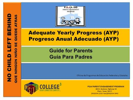 Adequate Yearly Progress (AYP) Progreso Anual Adecuado (AYP)