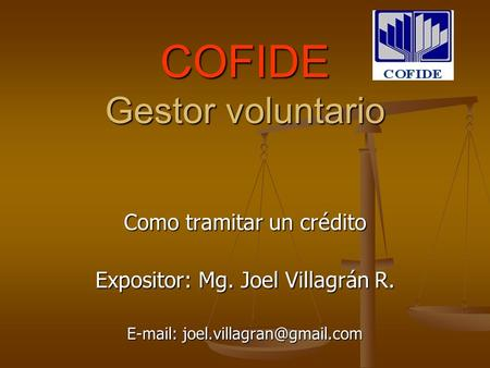 COFIDE Gestor voluntario